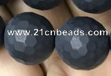 CAA2442 15.5 inches 14mm faceted round matte black agate beads