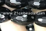 CAA2504 15.5 inches 13*18mm faceted rice black agate beads wholesale