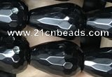 CAA2513 15.5 inches 8*12mm faceted teardrop black agate beads