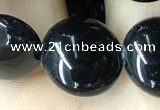 CAA2529 15.5 inches 16mm flat round black agate beads wholesale