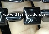 CAA2555 15.5 inches 10*10mm square black agate beads wholesale