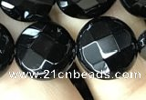 CAA2584 15.5 inches 18mm faceted coin black agate beads wholesale