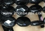 CAA2590 15.5 inches 8*10mm faceted oval black agate beads wholesale