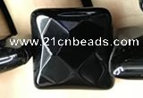 CAA2614 15.5 inches 25*25mm faceted square black agate beads