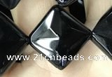 CAA2629 15.5 inches 14*14mm faceted diamond black agate beads