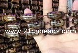 CAA2662 15.5 inches 10*28mm - 11*30mm rice tibetan agate dzi beads