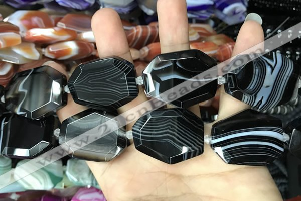 CAA2776 25*32mm - 27*35mm faceted freeform line agate beads