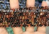 CAA2801 15 inches 4mm faceted round fire crackle agate beads wholesale
