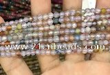 CAA2844 15 inches 4mm faceted round fire crackle agate beads wholesale