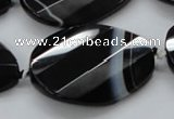 CAA285 28*38mm twisted & faceted teardrop black line agate beads