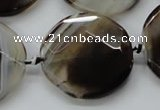 CAA290 15.5 inches 35mm faceted coin black line agate beads