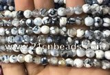 CAA2915 15 inches 6mm faceted round fire crackle agate beads wholesale