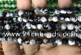 CAA2923 15 inches 6mm faceted round fire crackle agate beads wholesale
