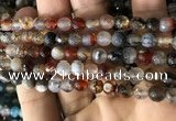 CAA2925 15 inches 6mm faceted round fire crackle agate beads wholesale