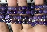 CAA2929 15 inches 6mm faceted round fire crackle agate beads wholesale