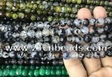 CAA2969 15 inches 8mm faceted round fire crackle agate beads wholesale