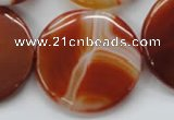 CAA299 15.5 inches 35mm flat round red line agate gemstone beads