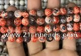 CAA2992 15 inches 8mm faceted round fire crackle agate beads wholesale