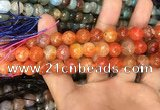 CAA3042 15 inches 10mm faceted round fire crackle agate beads wholesale