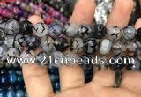 CAA3049 15 inches 10mm faceted round fire crackle agate beads wholesale