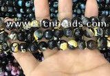 CAA3089 15 inches 10mm faceted round fire crackle agate beads wholesale