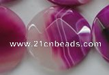 CAA314 15.5 inches 35mm faceted coin fuchsia line agate beads