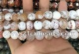CAA3140 15 inches 12mm faceted round fire crackle agate beads wholesale