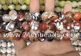 CAA3141 15 inches 12mm faceted round fire crackle agate beads wholesale