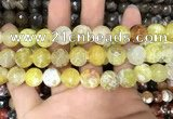 CAA3142 15 inches 12mm faceted round fire crackle agate beads wholesale