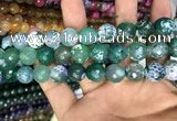 CAA3155 15 inches 12mm faceted round fire crackle agate beads wholesale