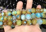 CAA3157 15 inches 12mm faceted round fire crackle agate beads wholesale