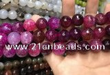 CAA3192 15 inches 14mm faceted round fire crackle agate beads wholesale