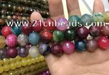 CAA3198 15 inches 14mm faceted round fire crackle agate beads wholesale
