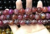CAA3200 15 inches 14mm faceted round fire crackle agate beads wholesale