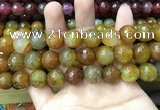 CAA3201 15 inches 14mm faceted round fire crackle agate beads wholesale