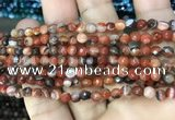 CAA3253 15 inches 4mm faceted round line agate beads wholesale