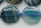 CAA340 15.5 inches 25mm flat round blue line agate beads