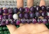 CAA3403 15 inches 12mm faceted round agate beads wholesale