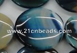 CAA341 15.5 inches 35mm flat round blue line agate beads