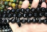 CAA3412 15 inches 12mm faceted round agate beads wholesale