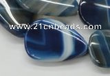 CAA342 15.5 inches 22*30mm flat teardrop blue line agate beads