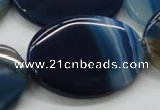 CAA346 15.5 inches 30*40mm oval blue line agate gemstone beads