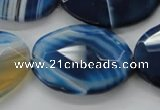 CAA350 15.5 inches 18*25mm faceted oval blue line agate beads