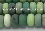 CAA3523 15.5 inches 5*8mm rondelle matte grass agate beads wholesale