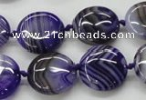 CAA355 15.5 inches 18mm flat round violet line agate gemstone beads