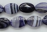 CAA357 15.5 inches 13*18mm faceted oval violet line agate beads