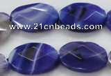 CAA358 15.5 inches 18*25mm faceted oval violet line agate beads
