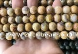 CAA3604 15.5 inches 10mm round yellow crazy lace agate beads