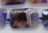 CAA362 15.5 inches 25*30mm faceted rectangle violet line agate beads