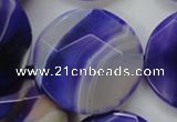 CAA364 15.5 inches 34mm faceted coin violet line agate beads